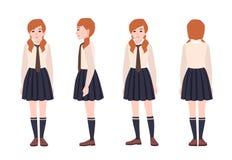 Młoda rudzielec dziewczyna ubierająca w mundurku szkolnym Żeńskiego ucznia lub ucznia być ubranym formalny odziewa płaski postać  royalty ilustracja