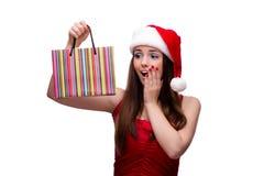 Młoda Santa dziewczyna w bożego narodzenia pojęciu na bielu Zdjęcia Stock