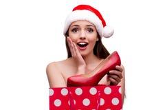 Młoda Santa dziewczyna w bożego narodzenia pojęciu odizolowywającym na bielu Zdjęcie Stock