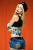 Młoda seksowna łyżwiarki dziewczyna moda portret potomstwa Obraz Stock