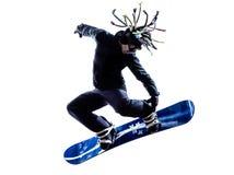 Młoda snowboarder mężczyzna sylwetka zdjęcie stock