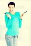 Młoda studencka kobieta z markierem Fotografia Stock