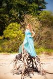 Młoda szczęśliwa azjatykcia dziewczyna na wyspie Obraz Royalty Free