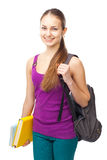 Młoda szczęśliwa uśmiechnięta studencka dziewczyna zdjęcie stock