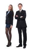 Młoda uśmiechnięta biznesowa kobieta i biznesowy mężczyzna zdjęcie stock