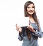 Młoda uśmiechnięta biznesowej kobiety chwyta deska, biały tło port Fotografia Royalty Free