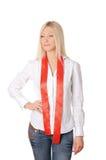 Młoda uśmiechnięta blondynka w białej koszula Obraz Royalty Free