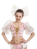 Młoda uśmiechnięta dziewczyna w lala kostiumu Zdjęcia Royalty Free