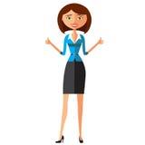 Młoda ufna biznesowa dama zatwierdza coś pokazywać aprobaty uśmiechniętej kobiety wektor Obrazy Stock