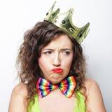 Młoda urocza kobieta z koroną Obrazy Royalty Free