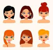 Młode ładne kobiety, ładne twarze z różnymi fryzurami, włosiany kolor Zdjęcia Stock