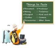 Młode backpacker czeka rzeczy pakować na blackboard Zdjęcia Stock