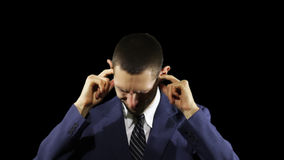 Młode Biznesowego mężczyzna emocje, Zamykają Twój ucho zbiory