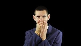 Młode Biznesowego mężczyzna emocje, Zamykają Twój usta zbiory wideo
