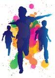 Młode chłopiec target81_1_ przeciw farbie splatter backgr royalty ilustracja
