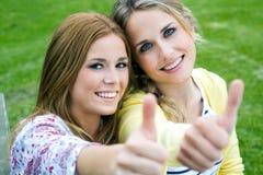 Młode Dorosłe siostry przy parkiem zdjęcie royalty free