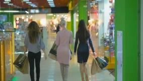 Młode dziewczyny chodzi, z torba na zakupy Całuje w kamerę swobodny ruch zbiory wideo