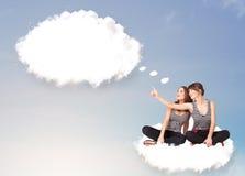 Młode dziewczyny siedzi na chmurze i główkowaniu abstrakcjonistyczny mowy bub Obrazy Stock
