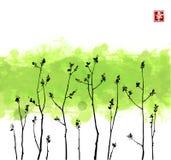 Młode gałąź z świeżymi liśćmi na zielonym pluśnięcia tle Zawiera hieroglif - szczęście Tradycyjny orientalny atrament ilustracja wektor