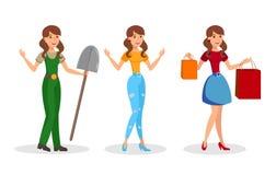 Młode Kobiety, dziewczyna Płascy Wektorowi charaktery Ustawiający ilustracja wektor
