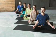 Młode kobiety i mężczyzna w joga grupują, relaksują, medytaci pozę fotografia stock