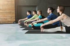 Młode kobiety i mężczyzna w joga klasie, robi rozciąganiu ćwiczą zdjęcie stock