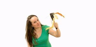 Młode kobiety z narzędziem i rośliną Zdjęcie Stock
