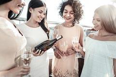 Młode przyjemne damy utrzymuje czara szampan i pić Obrazy Stock