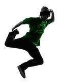 Młodego akrobatycznego przerwa tancerza mężczyzna breakdancing sylwetka Obraz Royalty Free