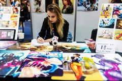 Młodego artysty manga rysunkowi plakaty obraz royalty free