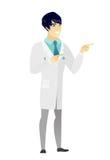 Młodego azjata doktorski wskazywać strona ilustracja wektor