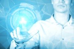 Młodego biznesmena wzruszający hologram wirtualny interfejs Zdjęcia Royalty Free