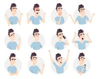 Młodego człowieka avatar kolekcja Wyrażenie i emocja set royalty ilustracja