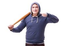 Młodego człowieka chuligan z kijem bejsbolowym odizolowywającym na bielu Obrazy Stock