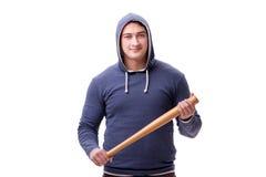 Młodego człowieka chuligan z kijem bejsbolowym odizolowywającym na bielu Obraz Royalty Free
