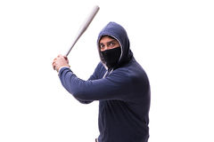 Młodego człowieka chuligan z kijem bejsbolowym odizolowywającym na bielu Fotografia Royalty Free