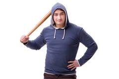 Młodego człowieka chuligan z kijem bejsbolowym odizolowywającym na bielu Zdjęcie Stock