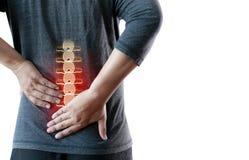 młodego człowieka Czuciowego cierpienia bólu pleców Bólowej ulgi Niski concep obrazy stock