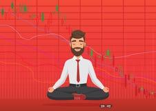 Młodego człowieka handlowiec medytuje pod spadać crypto lub rynek papierów wartościowych wymiany mapą Biznesowy handlowiec, finan ilustracja wektor
