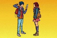 Młodego człowieka i dziewczyny wieków dojrzewania data royalty ilustracja