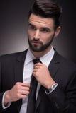 Młodego człowieka krawata kępki elegancki zbliżenie Obrazy Royalty Free