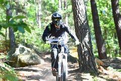 Młodego człowieka moutain ćwiczy rower w lesie zdjęcia royalty free