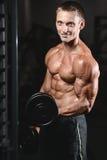 Młodego człowieka pociąg w gym opieki zdrowotnej stylu życia seksownym caucasian mężczyzna Fotografia Stock