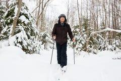 Młodego człowieka przez cały kraj narciarstwo w lesie Zdjęcie Royalty Free
