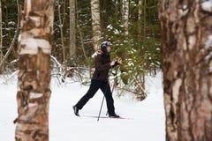 Młodego człowieka przez cały kraj narciarstwo w lesie Obrazy Stock