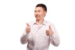 Młodego człowieka seansu gesta aprobaty Zdjęcie Royalty Free