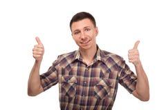Młodego człowieka seansu gesta aprobaty Zdjęcia Royalty Free