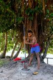 Młodego człowieka ubijanie kava zakorzenia w Lavena wiosce, Taveuni wyspa, fotografia royalty free