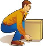 Młodego człowieka udźwigu pudełko, barwiony rysunek royalty ilustracja