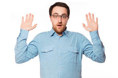 Młodego człowieka zmartwienia wyrażenie odizolowywający na białym tle zdjęcia stock